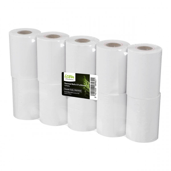 BEST BUY Icon Thermal Eftpos Roll 57x50mm  (Price is for a Pack of 10 Rolls. Min Purchase of 4x Packs)