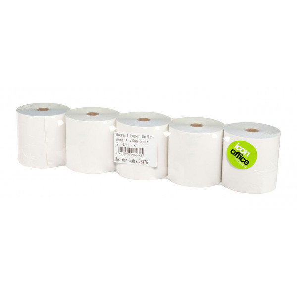 BEST BUY Icon Thermal Eftpos Roll 76 x 76mm 2 Ply (Price Is For A Pack Of 5 Rolls. Min Purchase Of 4x Packs)