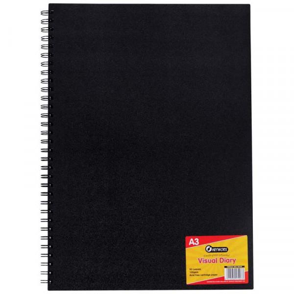 Artworx Diary Visual A3 50 Leaf Black
