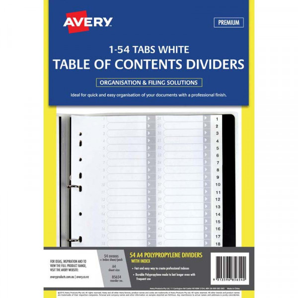 Avery Dividers A4 1-54 Tab White Pp