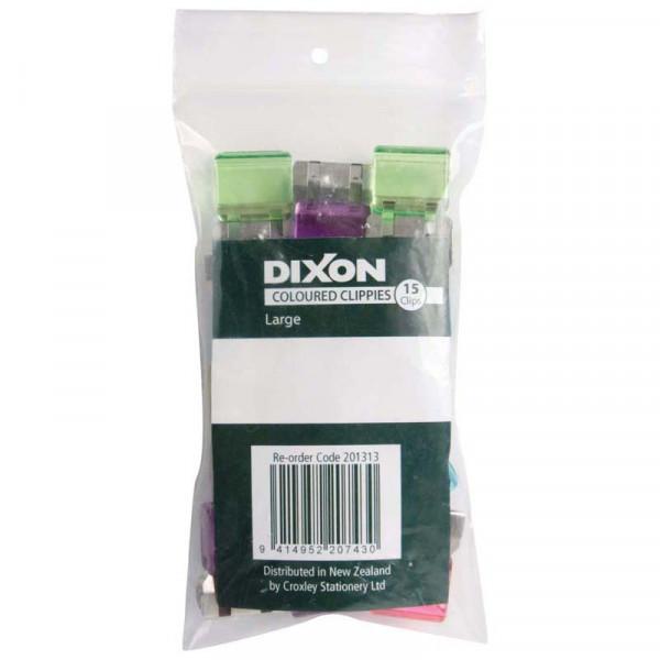Clippie Dixon Coloured Large  Paper Clips 15 Pack