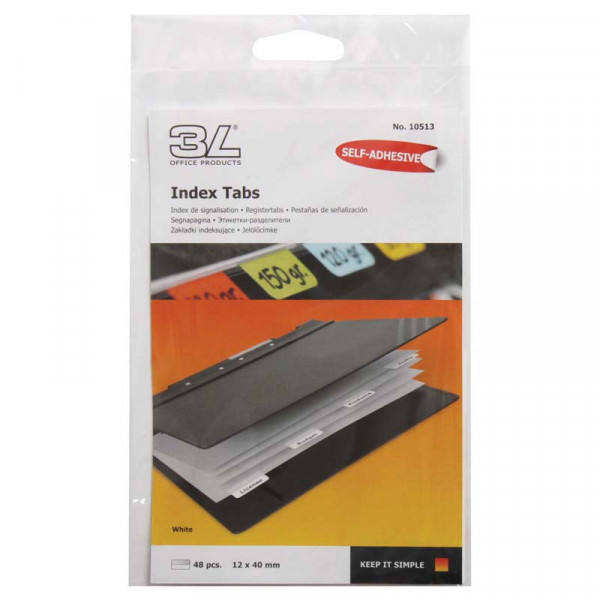 3L Index Tab 40mm White 48 Pack