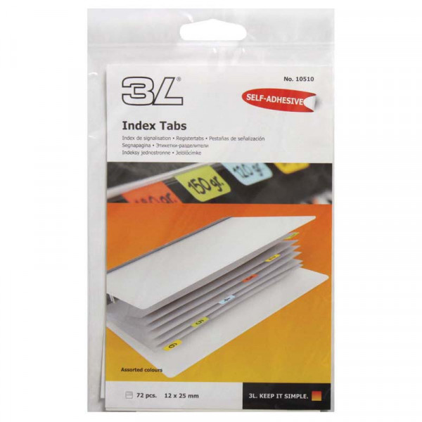 3L Index Tab 25mm Assorted 72 Pack