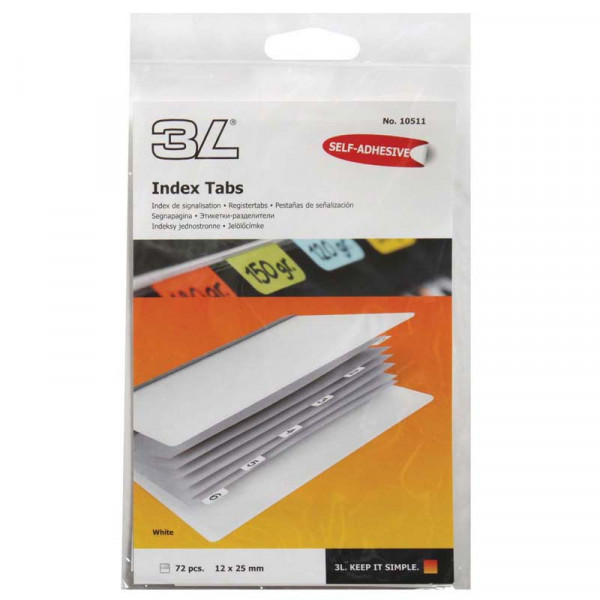 3L Index Tab 25mm White 72 Pack
