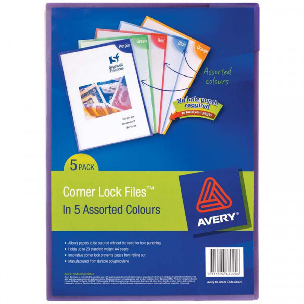 Avery Colour Lock Files A4 Assorted Pack 5