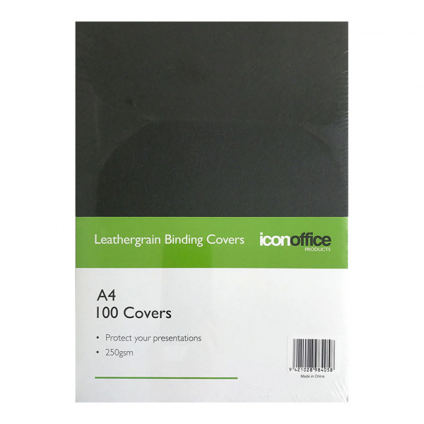 BEST BUY Icon Binding Covers Black Leathergrain A4 250gsm Pack of 100