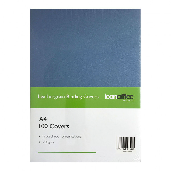 BEST BUY Icon Binding Covers Navy Blue Leathergrain A4 250gsm Pack of 100