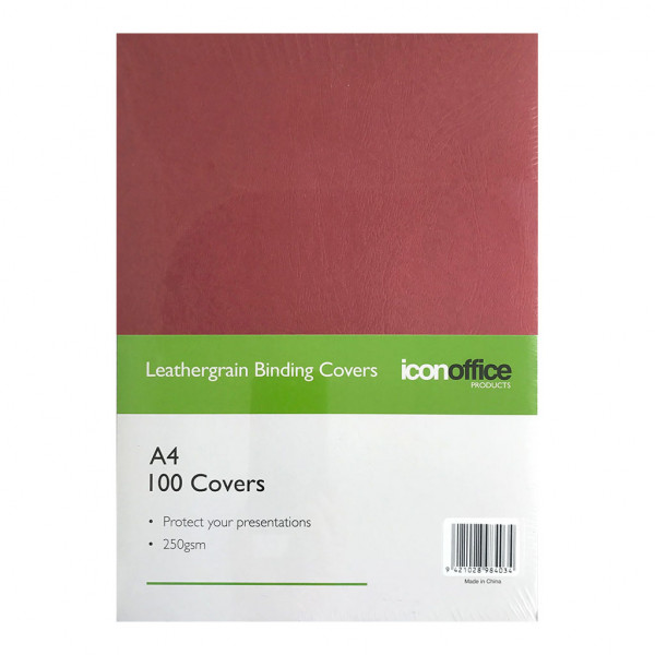 BEST BUY Icon Binding Covers Red Leathergrain A4 250gsm Pack of 100