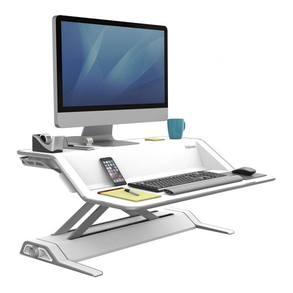 Fellowes Sit Stand Workstation - Lotus™ - White