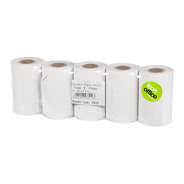 Icon Thermal Rolls 76 x 48mm (Purchasing 1 = a wrap  of 5 Rolls)