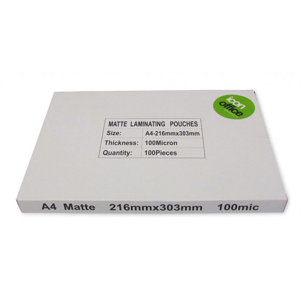 Icon A4 100 micron Matte Laminating Pouches (100pcs) - SPECIAL